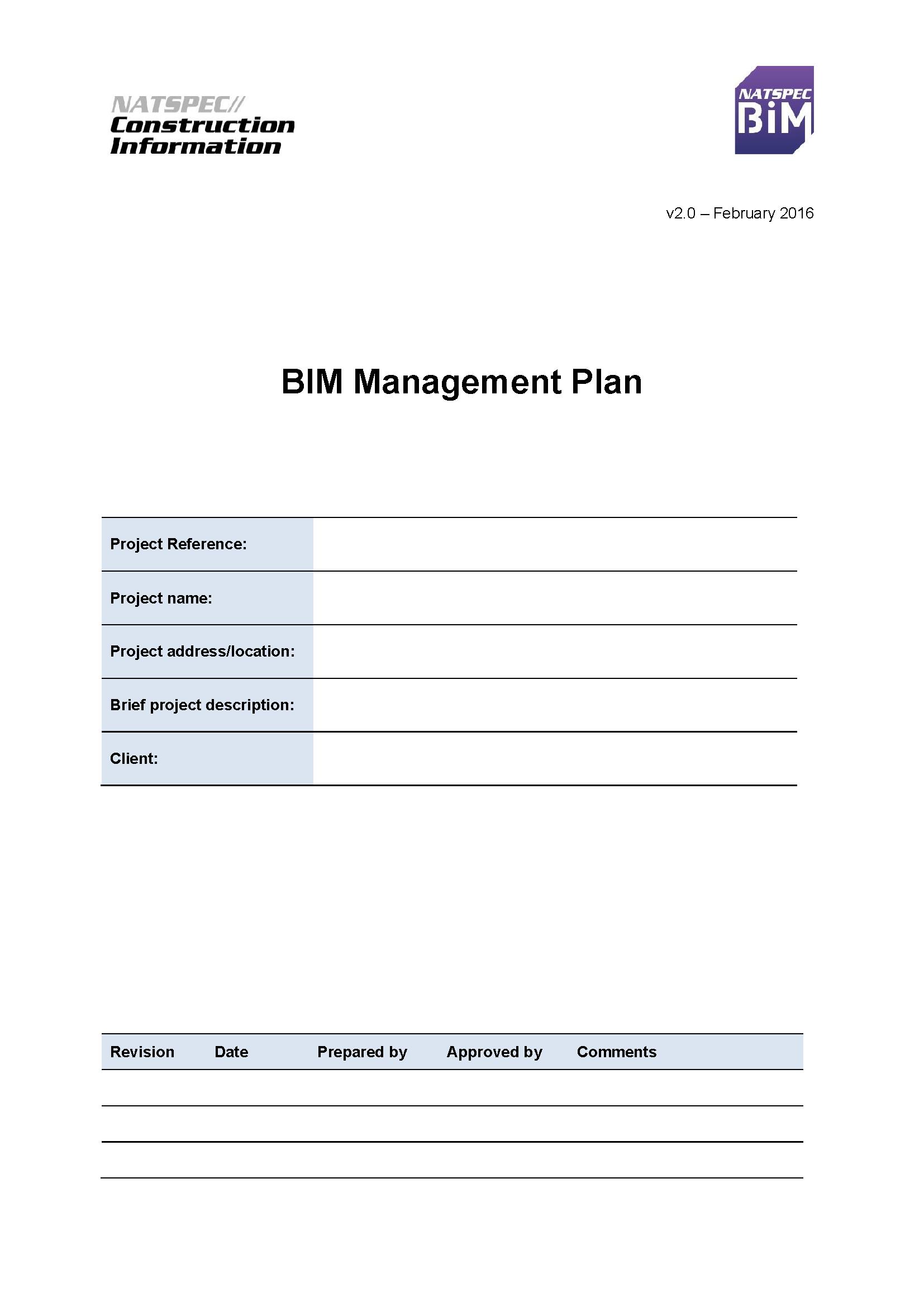 Natspec Bim Bim Management Plan Template