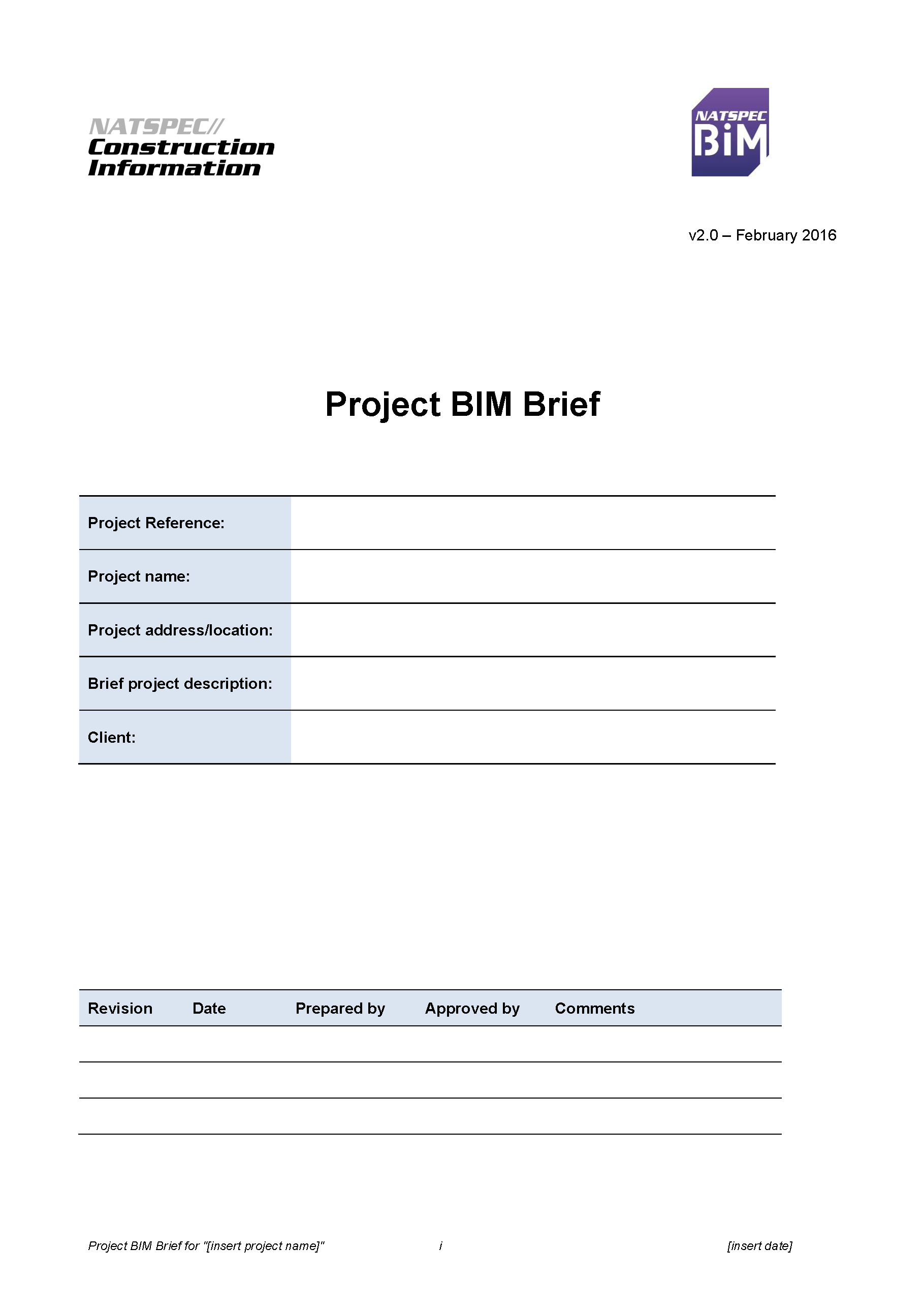 NATSPEC Project BIM Brief Template
